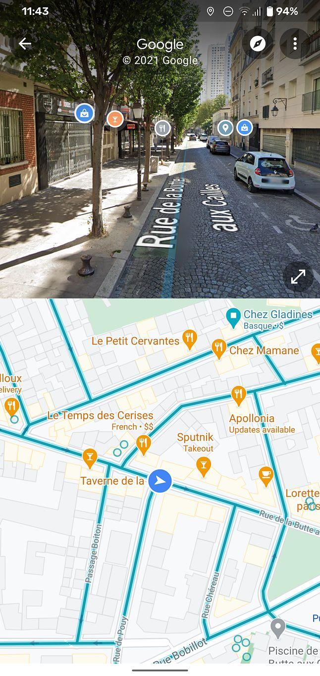 Podzielony widok w Street View, fot. Android Police.