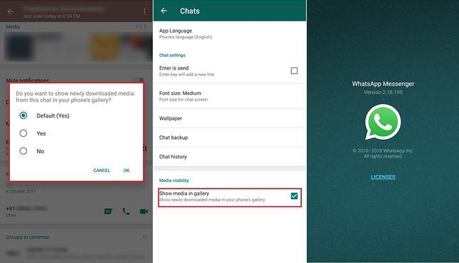 Już wkrótce w WhatsAppie będzie można zdecydować, czy obrazki mają być wyświetlane w galerii urządzenia. Źródło: mspoweruser.com
