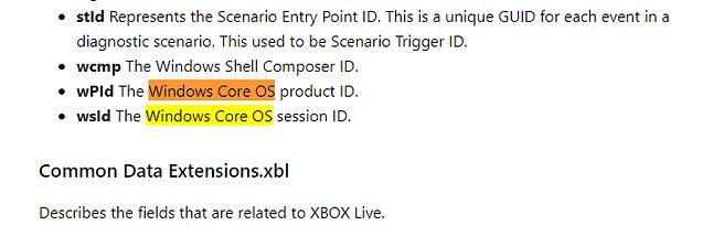 Fragment dokumentacji Microsoftu ze wzmianką o Windows Core OS.