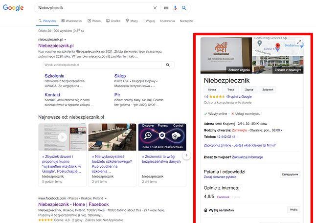 Wizytówka w Google na przykładzie Niebezpiecznika.