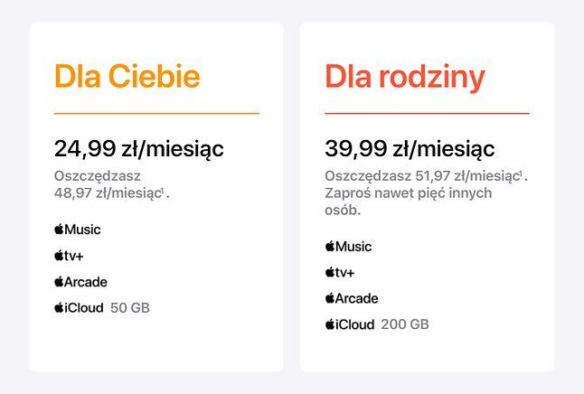 Polskie ceny Apple One, źrodło: apple.pl