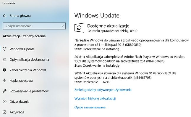 Listopadowe aktualizacje bezpieczeństwa Windowsa 10 są już dostępne za pośrednictwem Windows Update.