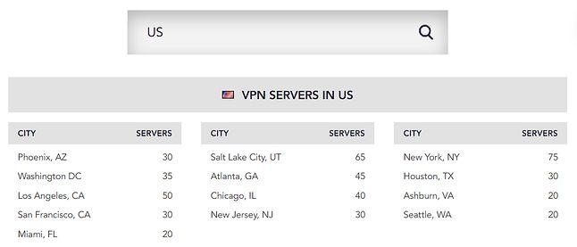 Lokalizacje serwerów PureVPN na przykładzie Stanów Zjednoczonych, źródło: PureVPN.