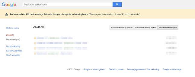 Zakładki Google przestaną działać po 30 września 2021 roku