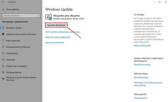 Sprawdzenie dostępności nowych aktualizacji można wymusić ręcznie.