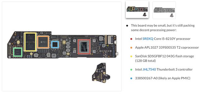 MacBook Air 2018: płyta główna. (źródło: ifixit.com)