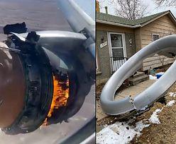 Wybuch samolotu boeing 777. Kawałki silnika pospadały na dachy domów