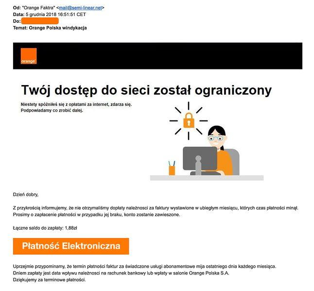 Spreparowana wiadomość e-mail. Źródło: niebezpiecznik.pl