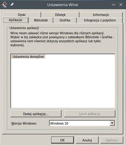 winecfg - wizualnie cudowne jak Windows 98