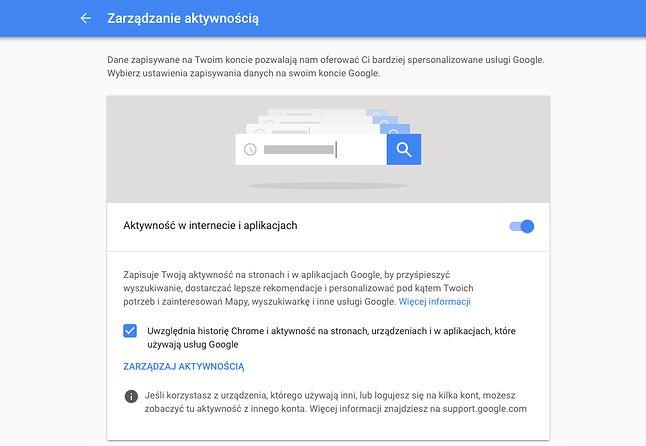 Zarządzenie aktywnością na kontach Google.