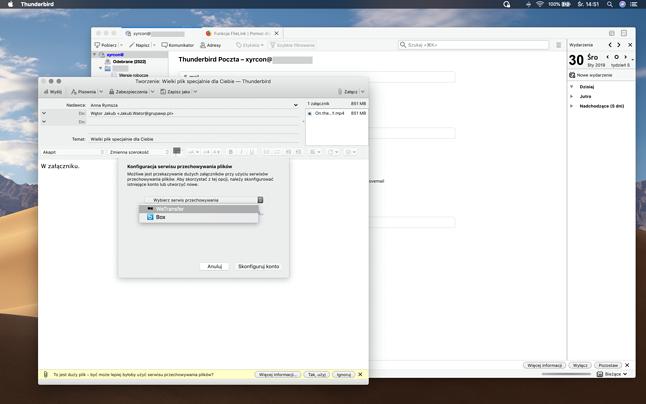 okno wyboru zewnętrznej usługi udostępniania plików