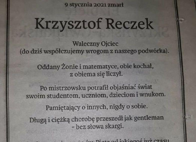 Zmarł matematyk z Krakowa. Na nekrologu umieścili zadanie. Rozwiążesz?
