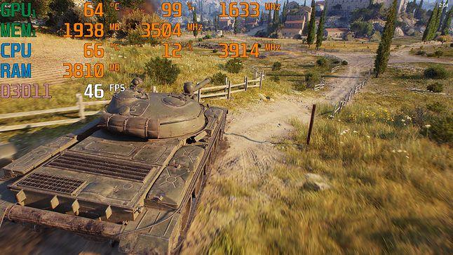 World of Tanks / 1080p, ust. najwyższe, TSSAA HQ / śr. – 49,2 fps; min. – 39 fps