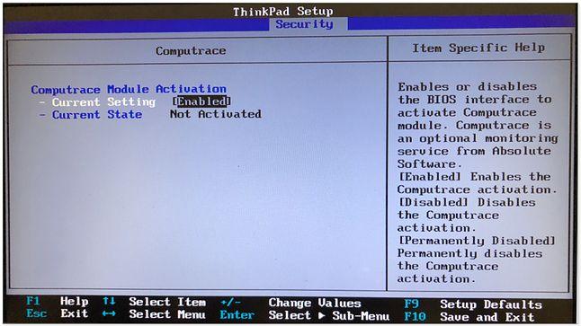 Ustawienia Computrace w oprogramowaniu jednego z ThinkPadów, źródło: Eset
