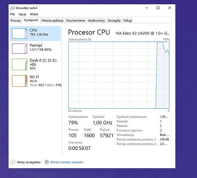 79% wykorzystania procesora przy kilku procesach w tle, bardzo źle