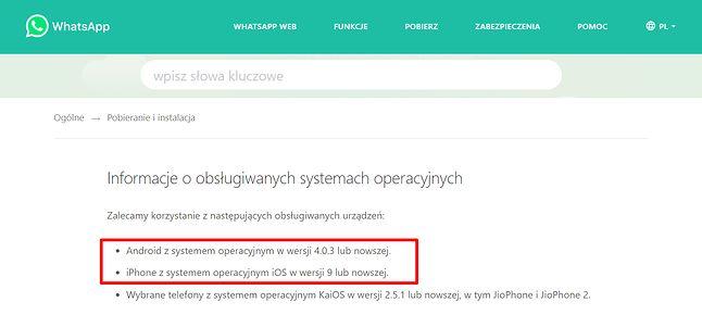 Informacja o obsługiwanych systemach mobilnych jest dostępna w FAQ WhatsAppa, fot. Oskar Ziomek.