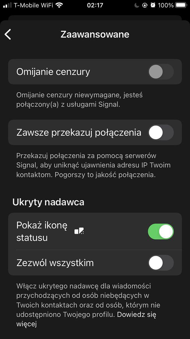 Ustawienia prywatności Signala