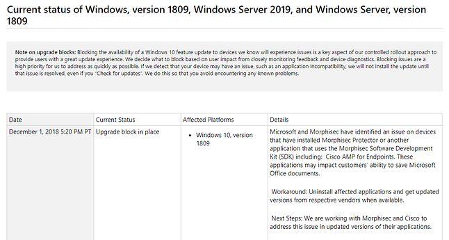Możliwe problemy z działaniem Office'a to najnowsza znana usterka październikowej aktualizacji Windowsa 10. Źródło: historia aktualizacji Windows 10.