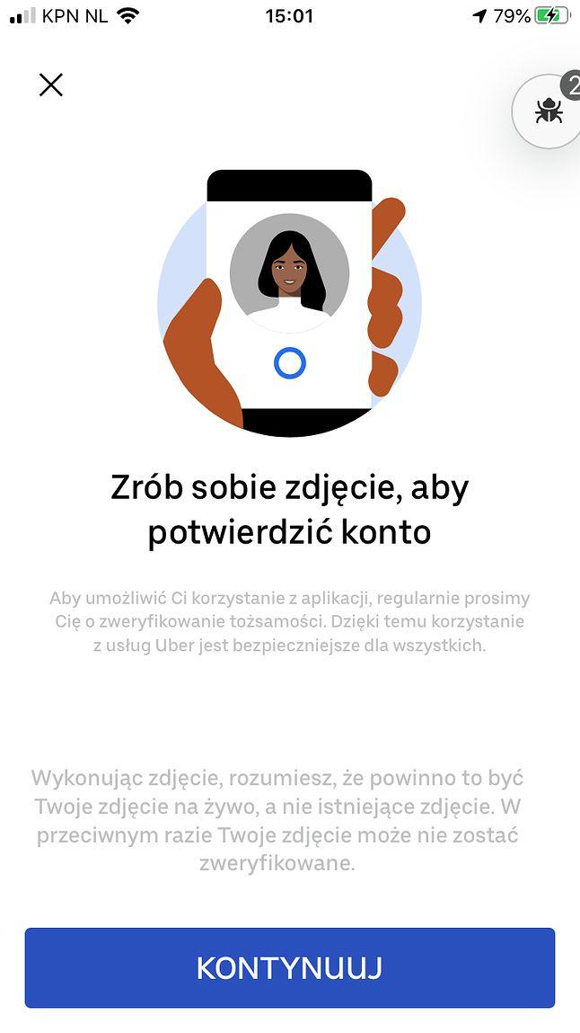 Aplikacja Ubera będzie prosić kierowcę o zrobienie sobie zdjęcia, fot. Uber.