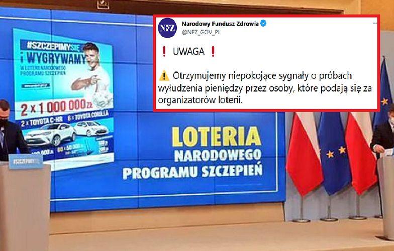 """Nowa metoda oszustw """"na loterię"""". NFZ apeluje: """"Próby wyłudzenia pieniędzy"""""""