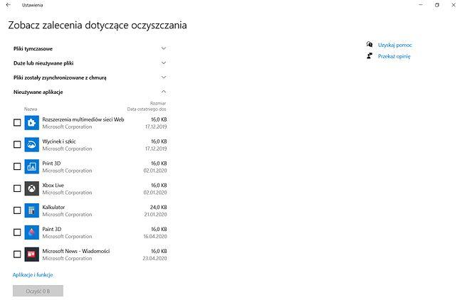 Zalecenia dotyczące oczyszczania w Windows 10 20H2, fot. Oskar Ziomek.