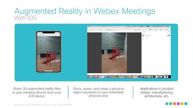 Rozszerzona rzeczywistość w Webex Meetings na przykładzie iOS-a.