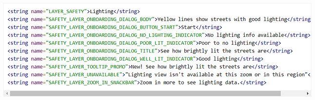 Nowe ciągi znaków w Mapach Google w wersji beta, źródło: XDA Developers.
