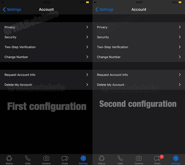Dwie wersje ciemnego motywu WhatsAppa w testowej wersji na iOS-a, źródło: WABetaInfo.
