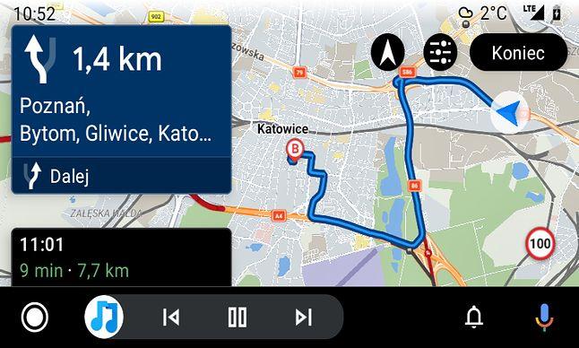 Sygic w Android Auto, fot. Oskar Ziomek.