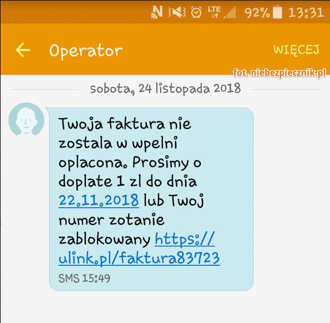 Treść SMS-a od oszustów, źródło: Niebezpiecznik.