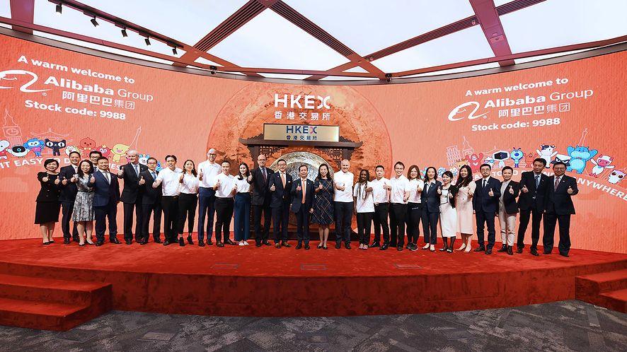 Alibaba debiutująca na giełdzie w Hongkongu (VCG/VCG via Getty Images)