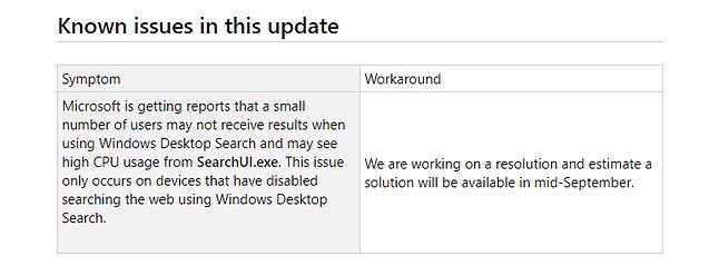 Krótkie wyjaśnienie problemu na stronie pomocy technicznej Windowsa 10.