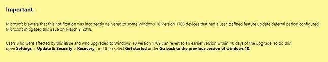 Microsoft wie, że aktualizacja trafiała również do użytkowników, którzy sobie jej nie życzyli. Źródło: support.microsoft.com