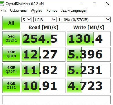 Wydajność pendrive'a w teście CrystalDiskMark.
