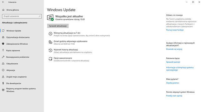 Ustawienia Windows Update w majowej aktualizacji Windows 10.