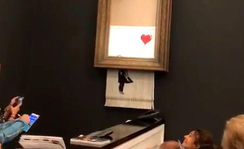 Dzieło Banksy'ego sprzedane za milion funtów uległo samozniszczeniu