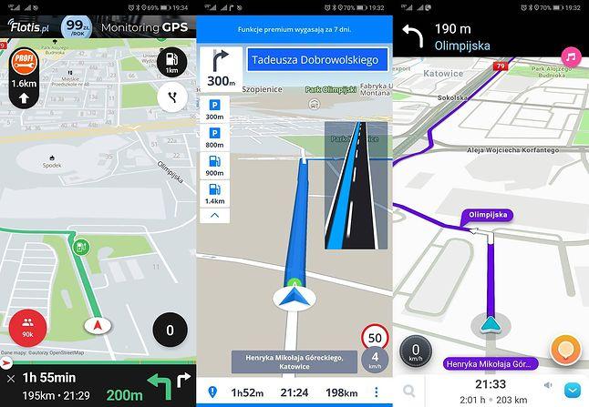 Yanosik, Sygic i Waze – przykładowe nawigacje GPS w smartfonie.