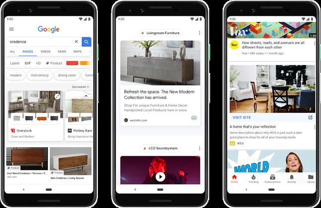 Szereg nowych typów reklam oferowanych przez Google, źródło: Blog Google.
