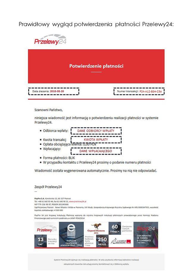 Wzór potwierdzenia przelewu z serwisu Przelewy 24, źródło: Kampania phishingowa Przelewy24.
