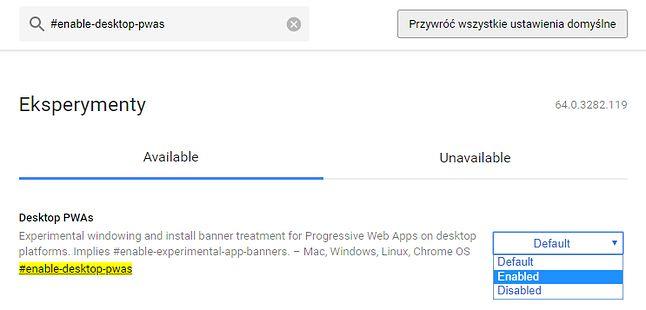 Odświeżony interfejs ustawień eksperymentalnych w Google Chrome nie został jeszcze do końca przetłumaczony na język polski