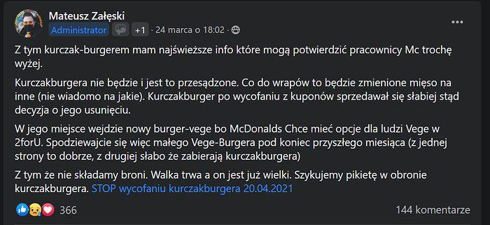 Nowości w McDonald's? Vege Burger 2forU