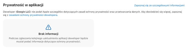 Opis Gmaila w App Store wciąż nie został uzupełniony o właściwe informacje, fot. Oskar Ziomek.