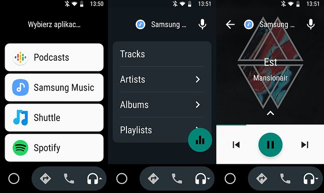 Samsung Music w Androidzie Auto w smartfonie.