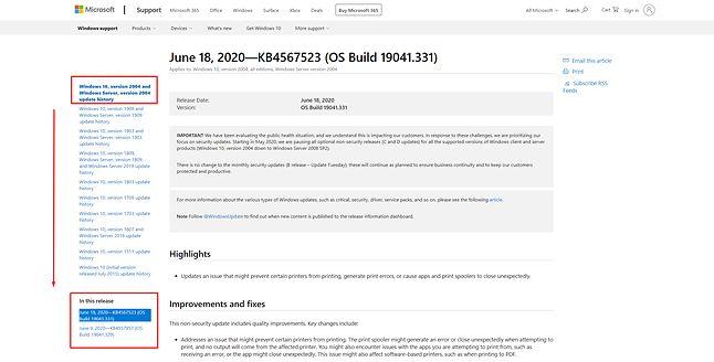 Informacje o danej kompilacji Windows 10, źródło: dokumentacja Windows 10, fot. Oskar Ziomek.