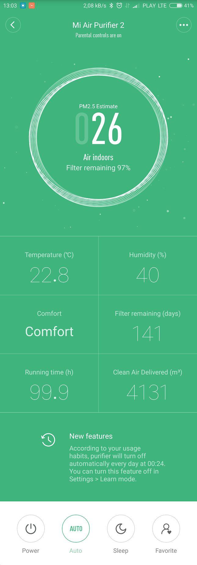 Od góry kolejno: aktualne stężenie, temperatura, wilgotność, wyliczony komfort na podstawie wcześniejszych danych, orientacyjna ilość dni do wymiany filtra, czas działania i objętość przefiltrowanego, czystego powietrza.