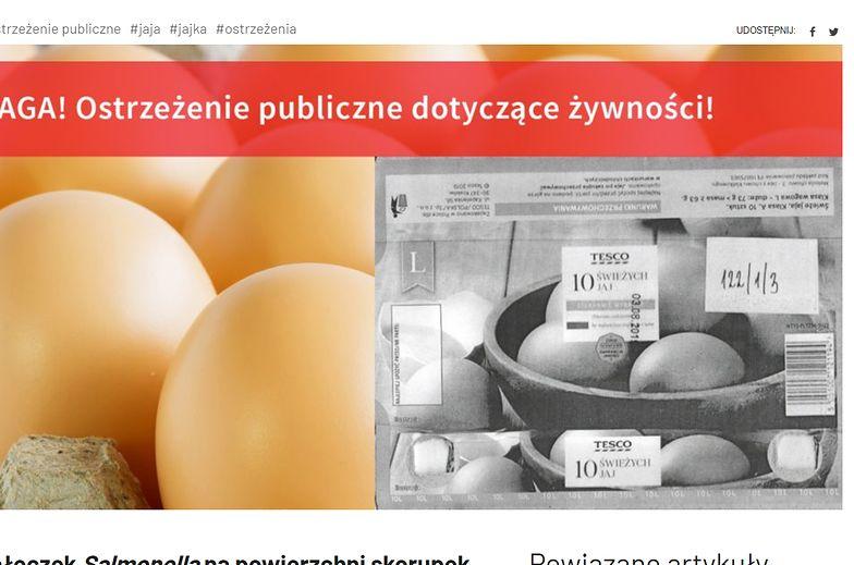 Uwaga na jajka z salmonellą z Tesco