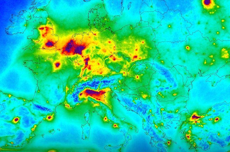 W Polsce najbardziej zanieczyszczone dwutlenkiem azotu są okolice Górnego Śląska, Łodzi i Warszawy