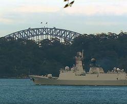 """Chiński okręt wojenny z """"sekretną misją"""" w Sydney. Zdjęcia zaskakują"""