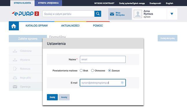 Widok okna, gdzie można podać adres e-mail, na który będą przekierowywane powiadomienia ePUAP