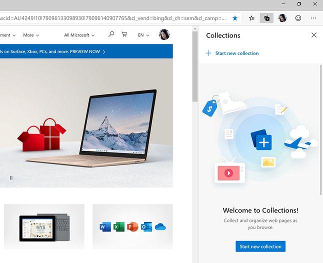 Tak wygląda ekran powitalny funkcji Kolekcje w Microsoft Edge, fot. Microsoft